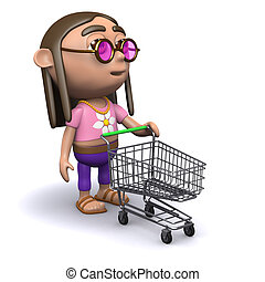 3d Hippy goes shopping - 3d render of a hippy with an empty...