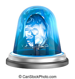 Blue flasher icon. Isolated on whit