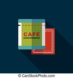 coffee bag flat icon with long shadow,eps10