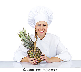 Woman chef in uniform. Isolated on white background with pineapp
