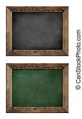 old green and black school blackboard or chalkboard with...