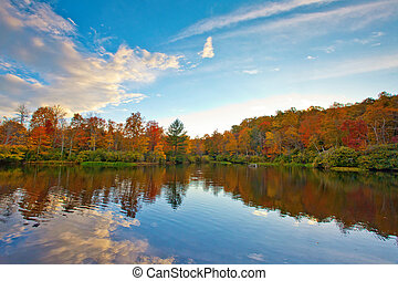 Colorful lake with trees around bank - Colorful trees line...