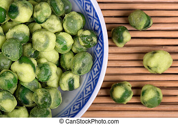 Wasabi peas - A close up of wasabi peas in a traditional...