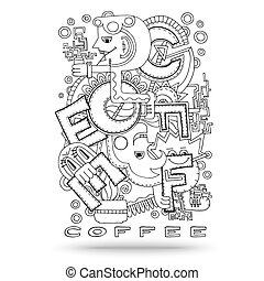 Doodle element with concept of a creative idea - Head idea...