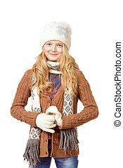 in sweater - Portrait of a pretty ten years girl in warm...
