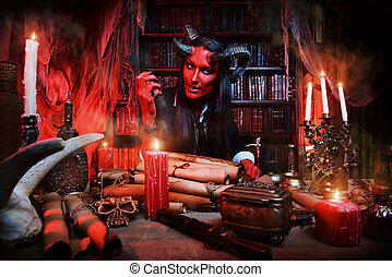manuscripts lab - Horned Devil in his home Fantasy Ancient...