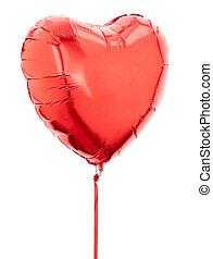 vermelho, Coração, folha, balloon