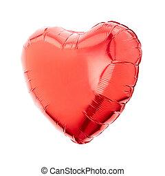 vermelho, Coração, balloon, branca