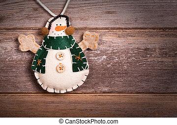 Felt snowman - Hand made felt snowman Christmas decoration....