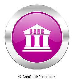 Nät, krom, isolerat, violett, cirkel,  bank, ikon