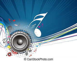 music theme - Music notes background with halftone...