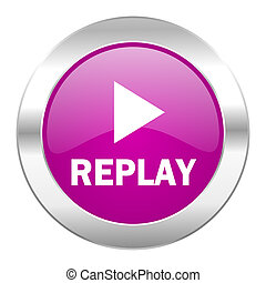 replay violet circle chrome web icon isolated