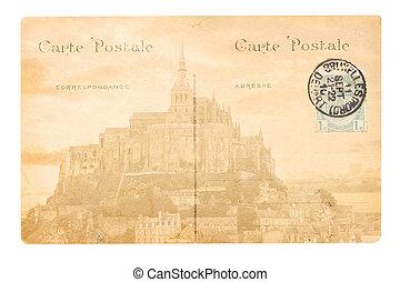 old Paris postcard - old postcard with Abbey of Mont Saint...