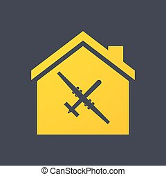 House icon with a drone - Illustration of an isolated house...