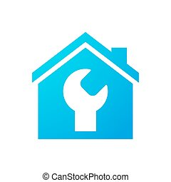 House icon with a monkey wrench - Illustration of an...