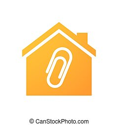 House icon with a clip - Illustration of an isolated house...