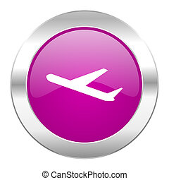deparures violet circle chrome web icon isolated