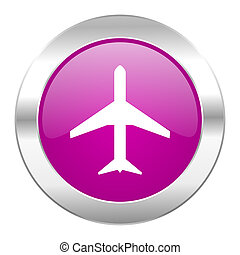 plane violet circle chrome web icon isolated