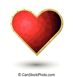 red heart jewel - vector realistic red heart jewel with gold...