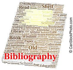 Bibliography word cloud shape concept