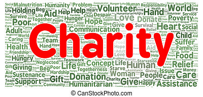 Charity word cloud shape concept