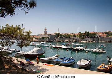 Town of Krk, Croatia - Town of Krk, Island of Krk, Croatia,...
