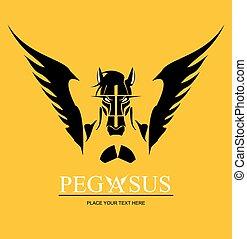 Pegasus horse head - Pegasus, suitable for team identity,...