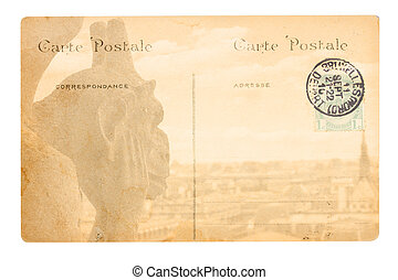 old Paris postcard - old postcard with Gargoyle of Notre Dam...