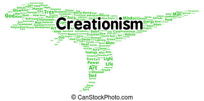 Creationism word cloud shape concept