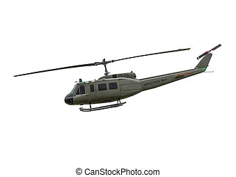 US-1 Huey Helicopter on a white background.
