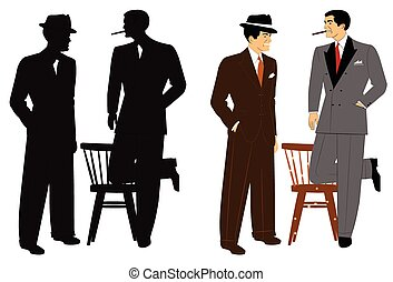 men in vintage suits talking - vintage men in 2 styles