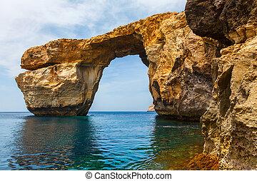 błękit, okno, Kamień, łuk, Od, Gozo, malta,