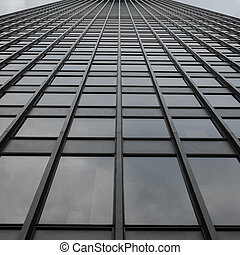 Grey Uniform Grid Skyscraper - Looking up toward the sky...
