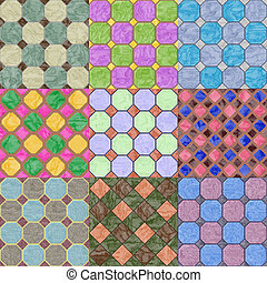Set of floor tiles seamless generated textures