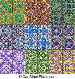 Set of glazed tiles seamless generated textures