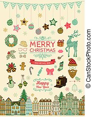 Set of Hand-drawn Outlined Christmas Doodle Icons.