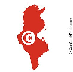 Tunisia Flag - Flag of Republic of Tunisia overlaid on...