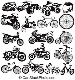 bicycle and motorcycle black icons