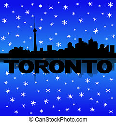 Toronto skyline reflected with snow illustration