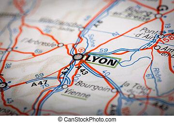 Lyon city on a road map