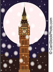 London Christmas Eve - The London landmark Big Ben...