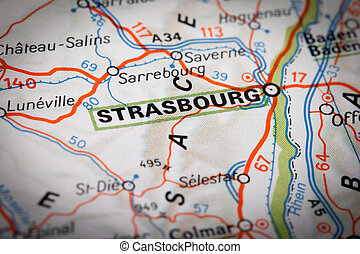 Strasbourg city on a road map