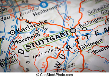 Stuttgart city on a road map