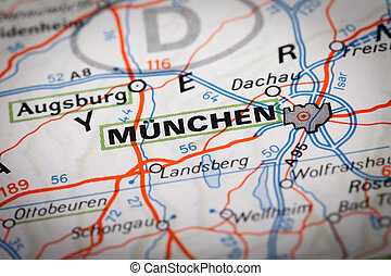 Munchen city on a road map