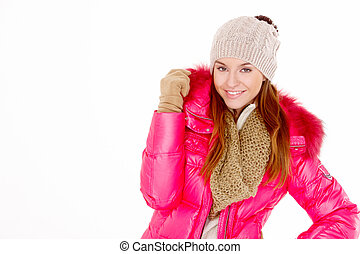 Young woman wearing winter jacket scarf and cap - Pretty...
