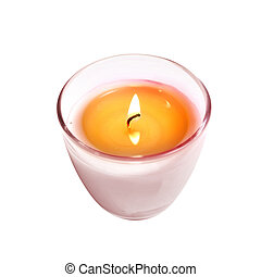 Candle in Glass on White Background