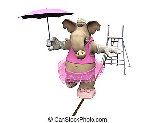 Elephant balancing on a wire - A female cartoon elephant in...
