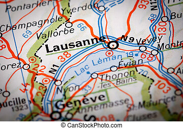 Lausanne city on a road map