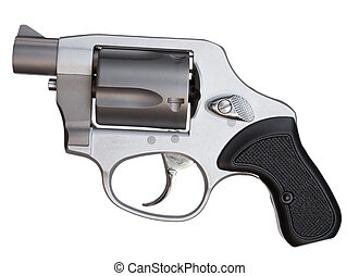 Snub nosed revolver - Metal revolver with a short barrel...