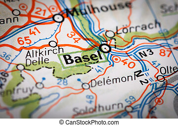 Basel city on a road map